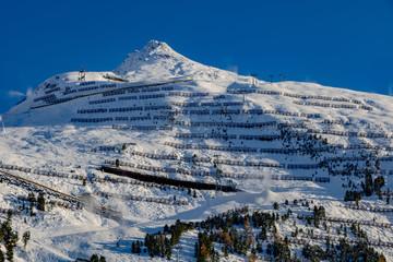 Schi Dorf Obergurgl in 2000 Höhenmetern im Winter, Tirol, Österreich,