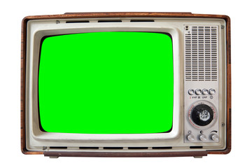 vintage television with green screen