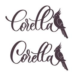 Corella parrot  - lettering label  vector.