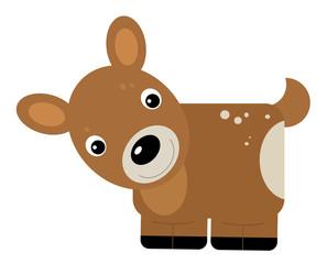 cartoon scene with farm animal deer roe on yellow stripes illustration