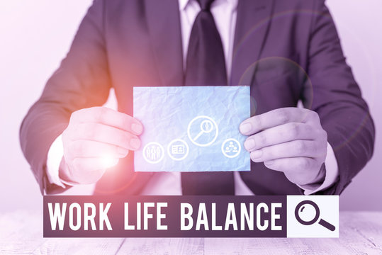 Text sign showing Work Life Balance. Business photo text Division of time between working or family and leisure