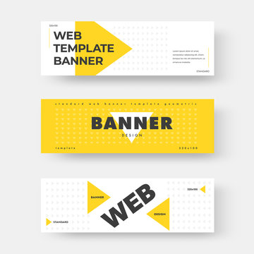 Vector white horizontal web banner with yellow triangle.