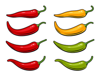 Hot chili peppers set isolated on white background. Vector illustration of red, yellow and green peppers.