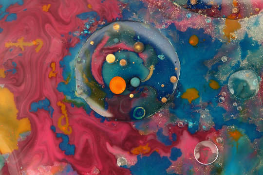 Abstract blot bubble background. Marble texture. Acrylic color in water and oil.