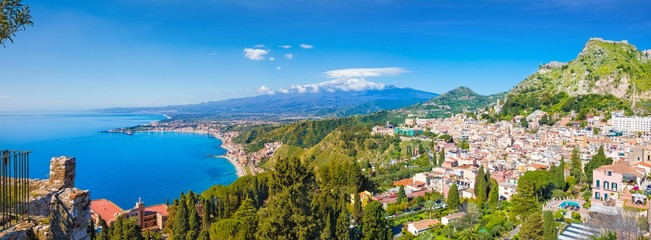 Aerial panoramic view of Taormina located in Metropolitan City of Messina, on east coast of Sicily island, Italy. Fototapete