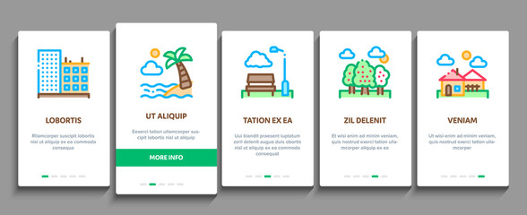 Aluminium Prints Dark grey Landscape Travel Place Onboarding Mobile App Page Screen Vector. City And Seaside, Island And Mountain, Bridge And Park Landscape Concept Linear Pictograms. Color Contour Illustrations