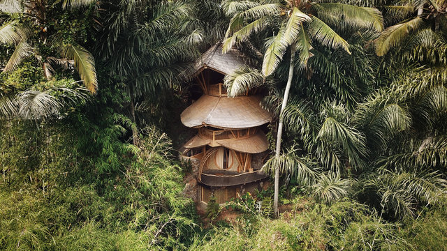 BALI, INDONESIA - December 2019: Bamboo jungle house in Bali