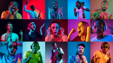 Portrait of multiethnic group on multicolored background in neon light. Flyer, collage made of 10...