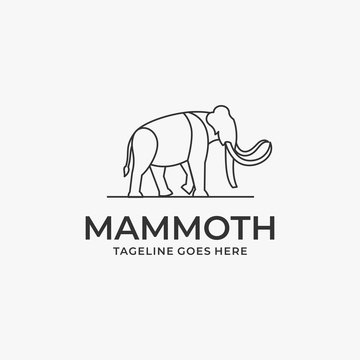 Vector Logo Illustration Mammoth Walking Line Art