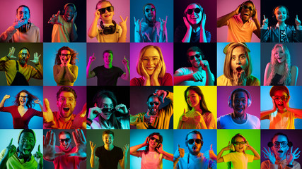 Portrait of multiethnic group on multicolored background in neon light. Flyer, collage made of 16...