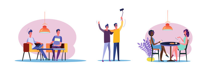 Set of casual men and women talking to each other. Flat vector illustrations of people enjoying each others company. Friendship and relationship concept for banner, website design, landing web page
