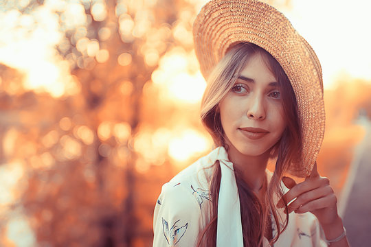 happy romantic girl in a straw hat / young model in a dress summer day, happiness woman