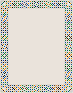 Colorful Ornate Vector Border of Moorish Tiled Decorations. Mosaic frame in Palace of Alhambra Style.