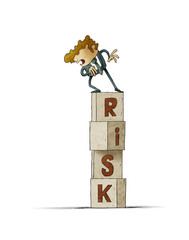 tower of cubes with the word risk in which there is a cautious man who looks down. isolated