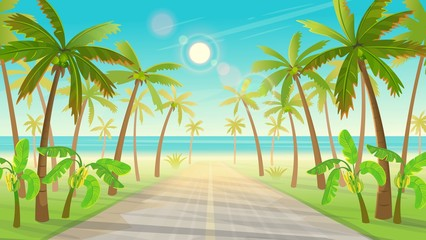 Road over the tropical island with palm trees to the ocean. Vector illustration of tropical island in cartoon style.