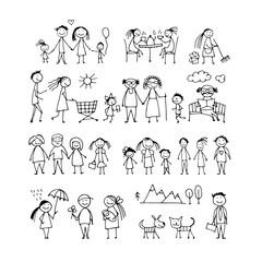 Family set, sketch for your design