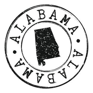 Alabama USA Silhouette Postal Passport Stamp Round Vector Icon