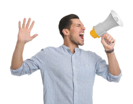 Handsome man with megaphone on white background