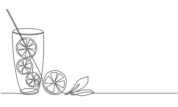 Lemonade Glass of water with lemon and mint. A refreshing citrus drink. Detox. Diet food. Continuous line drawing. Vector sketch.