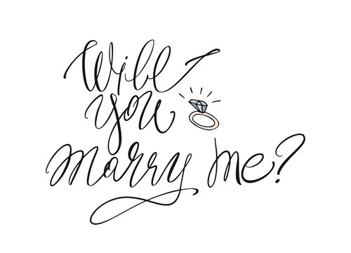 Will you marry me - modern brush calligraphy. Ink illustration on white background
