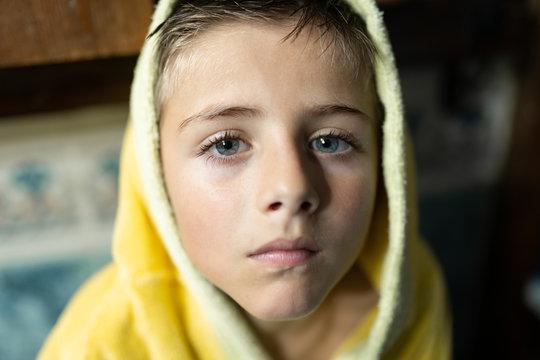 little blue-eyed boy smiling
