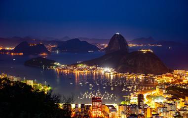 Sugarloaf Mountain at night in Rio De Janeiro