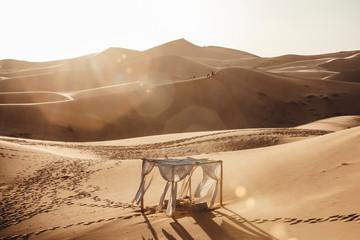 Photo scenary in Sahara desert at sunset
