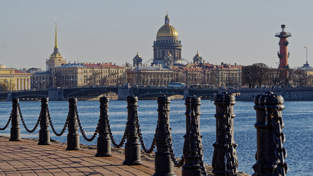 View from hare island to the Admiralty and the dome of St. Isaac's Cathedral.