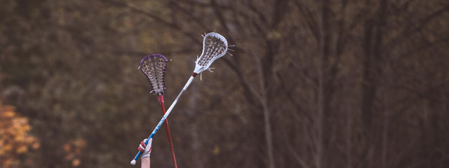 raised lacrosse sticks against the backdrop of autumn trees
