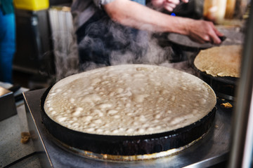 Crepe being made