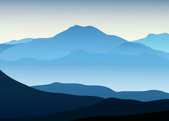 Poster Blue Blue mountain landscape with silhouette. Vector illustration view