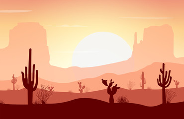 Deurstickers Zalm Desert landscape with cactus, mountain, and sunset. Vector illustration background.