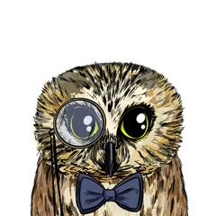Foto op Canvas Hand getrokken schets van dieren Cute smart owl with bow tie and monocle