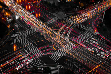 High Angle View Of Light Trails On City Street At Night Fotomurales