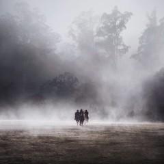 Three men horseback riding in the fog