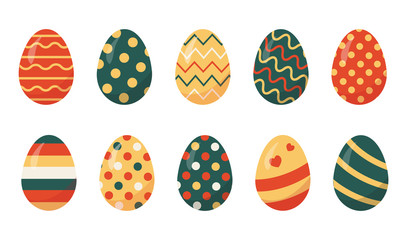 Set of colored Easter eggs vector illustration.