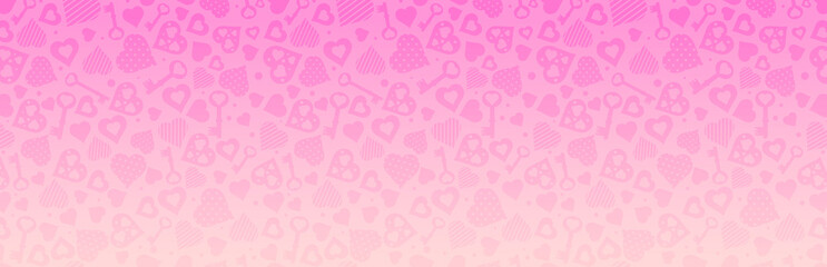 Wall Mural - PInk banner with valentines hearts and keys. Valentines greeting banner. Horizontal holiday background, headers, posters, cards, website. Vector illustration