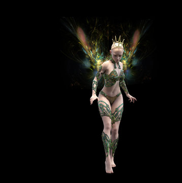 Fairy illustration with wings of energy and crown
