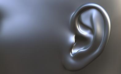 Human ear - silver grey
