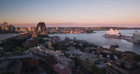 Fotomurales - Aerial view of Sydney with Harbour Bridge and the Opera House, Australia