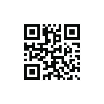 QR Code vector icon. QR code sample for smartphone scanning. Isolated vector illustration.
