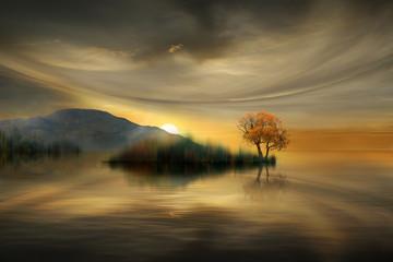 Foto op Canvas Zee zonsondergang beautiful sunset on the lake