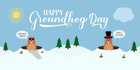 Groundhog Day vector illustration with modern calligraphy hand lettering and cute cartoon marmot crawling out of a hole on a cloudy day. Vector template for postcard, poster, banner, flyer, etc.