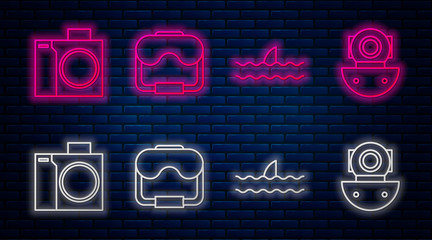 Set line Diving mask, Shark fin in ocean wave, Photo camera for diver and Aqualung. Glowing neon icon on brick wall. Vector