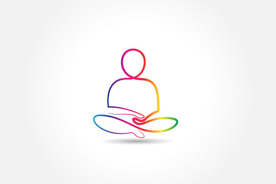Logo yoga colorful healthy man