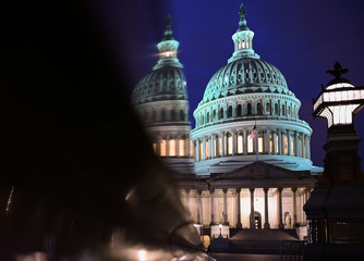 The U.S. Capitol is seen at night during Senate impeachment trial of U.S. President Trump in Washington