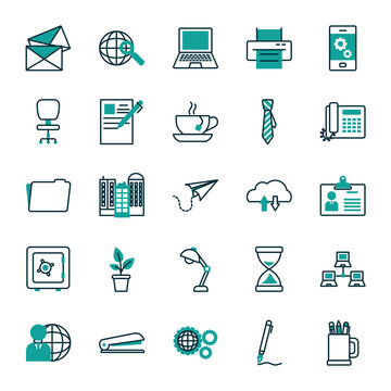 Isolated office and business icon set vector design