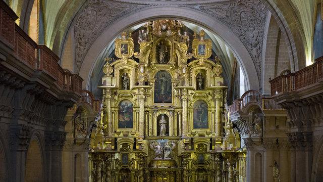 Altar of the church company of Jesus in main square of Cusco Peru