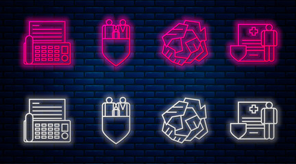 Set line Family insurance with shield, Crumpled paper ball, Fax machine and Medical clipboard with clinical record. Glowing neon icon on brick wall. Vector