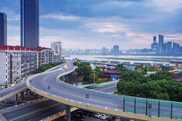 Türaufkleber Shanghai named bayi bridge in the night of shanghai china
